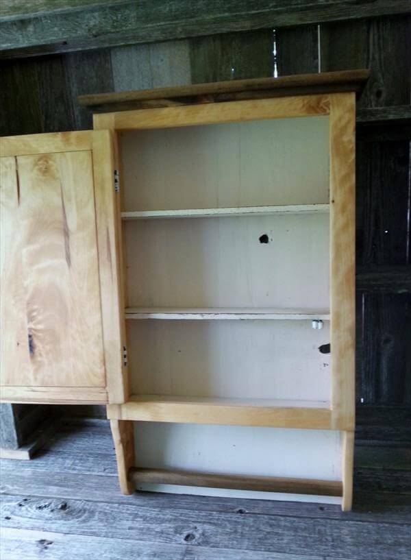 recycled pallet wood wall cabinet