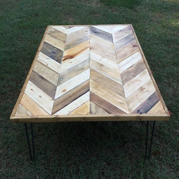 Chevron Pallet Coffee Table Pallet Furniture Diy