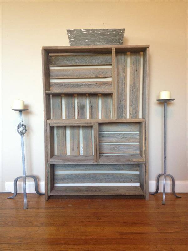upcycled pallet art style shelf