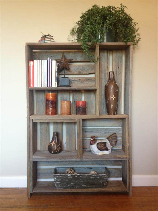 recycled pallet art style shelf