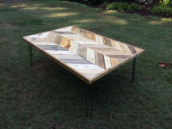 Chevron pallet coffee table pallet furniture diy for Wood table instructions