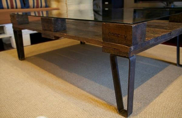 DIY Pallet Coffee Table With Glass Top Furniture