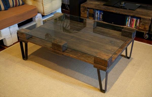 Diy Pallet Coffee Table With Glass Top Pallet Furniture Diy