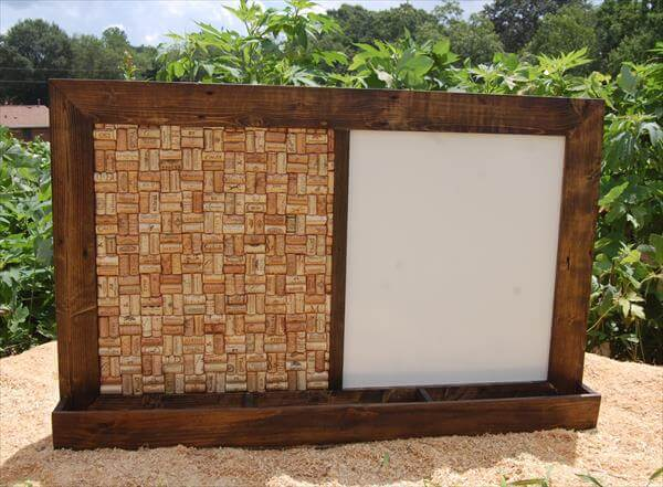 wooden pallet white board and mail organizer