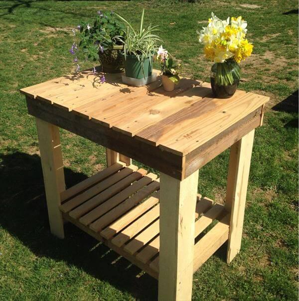 handmade pallet potting table