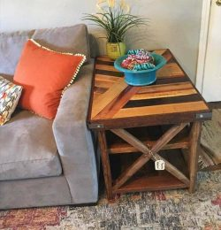 pallet coffee table with patterned top