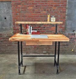 wooden pallet and metal pipe 2 tiered desk