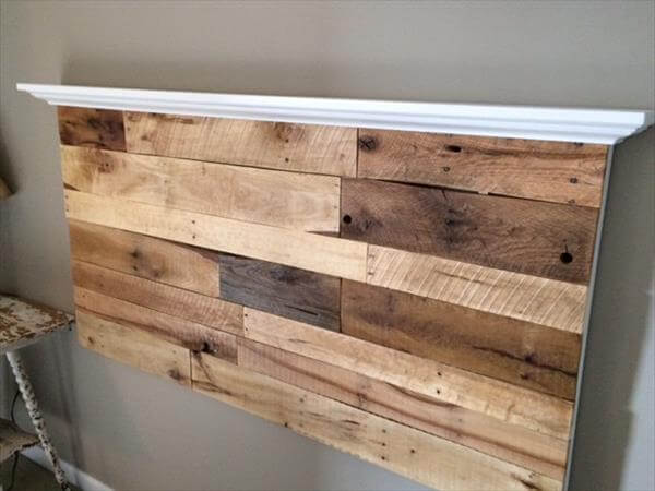 Wall Mounted Headboards Diy pallet wall headboard with shelf | pallet furniture diy