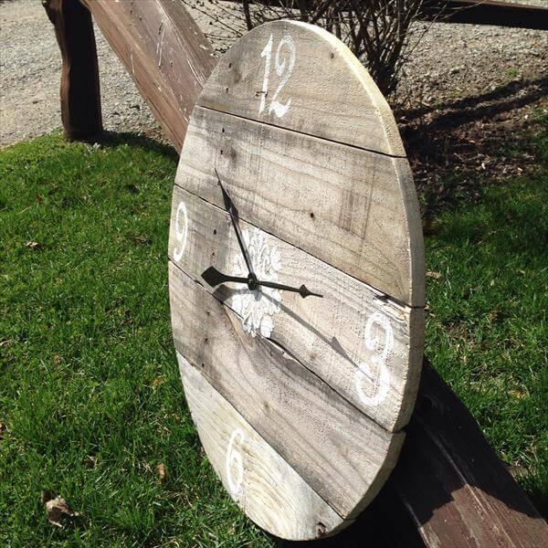 diy round pallet wall clock
