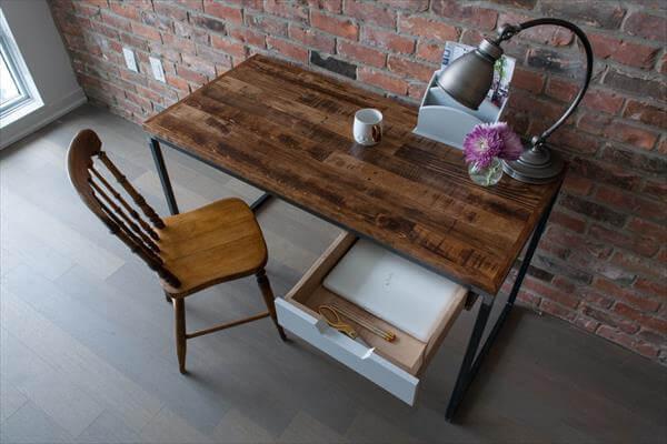 repurposed pallet and steel desk