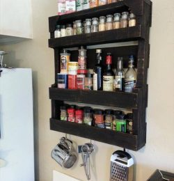 rustic pallet kitchen spice rack