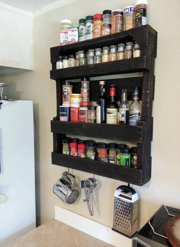 Pallet Spice Rack For Kitchen Furniture DIY