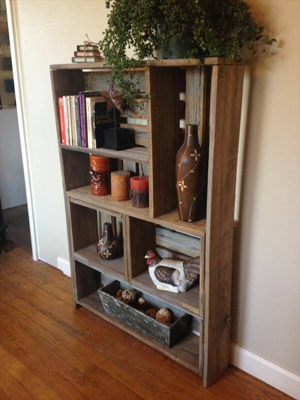 repurposed pallet art style shelf