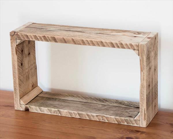 rustic pallet storage shelf