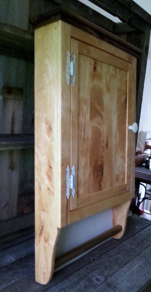 reclaimed pallet wall cabinet with towel rack