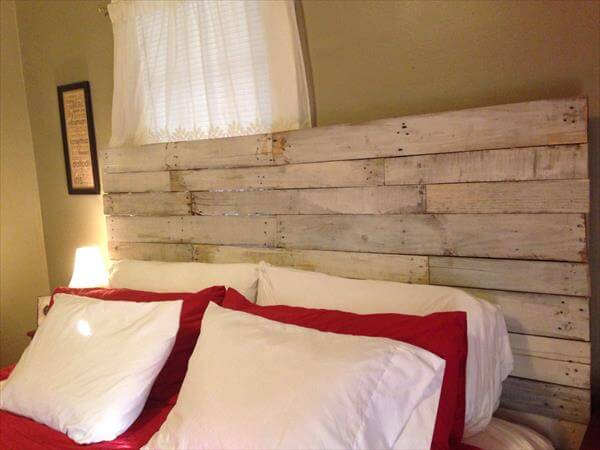 diy pallet rustic white washed headboard
