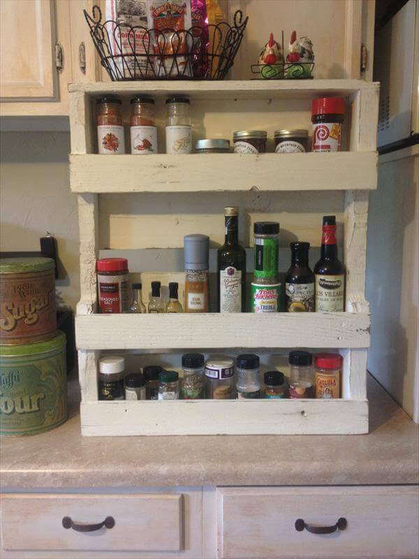 wooden pallet shabby chic spice rack