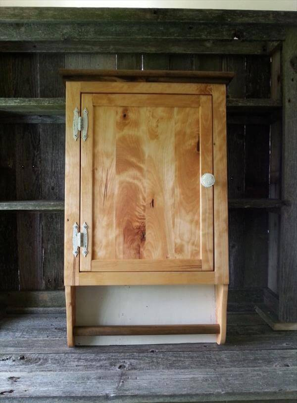 pallet bathroom wall cabinet with towel rack