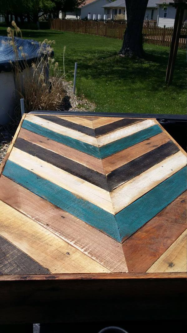 recycled pallet chalk painted chevron table
