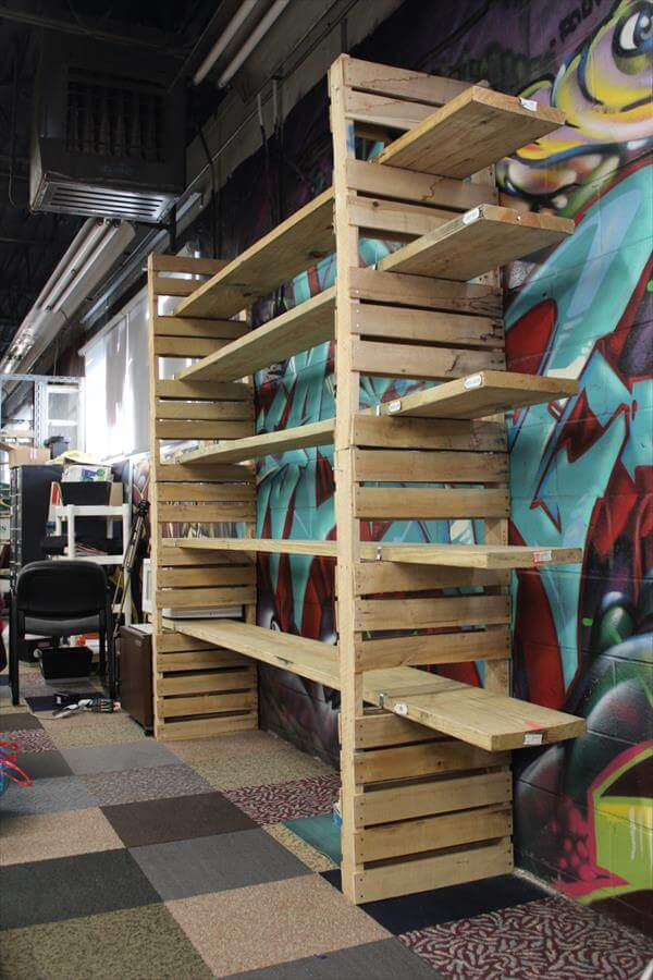 recycled pallet shelving