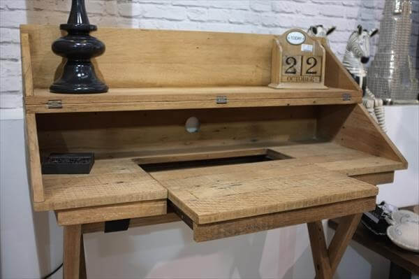 recycled pallet campaign style desk