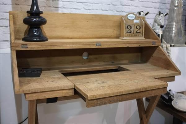 Diy Pallet Campaign Styled Study Desk Pallet Furniture Diy