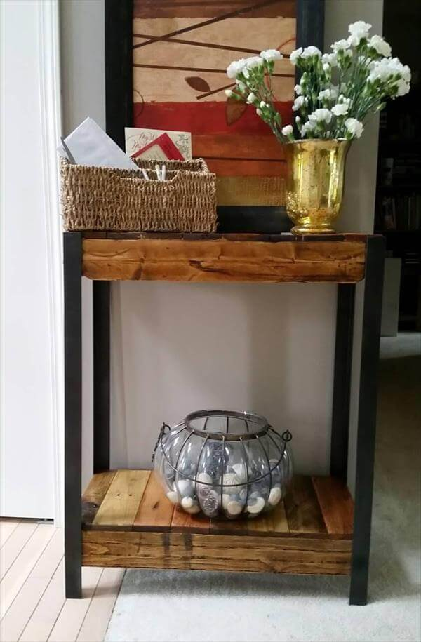 upcycled pallet and metal console table
