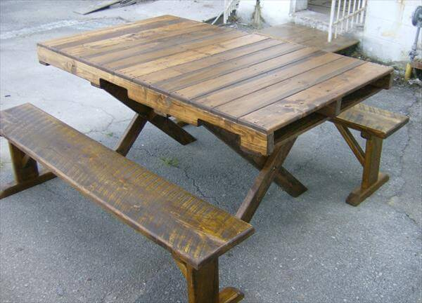 reclaimed pallet dining table with criss cross legs