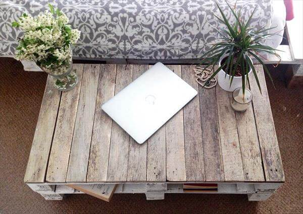 reclaimed pallet shabby chic coffee table