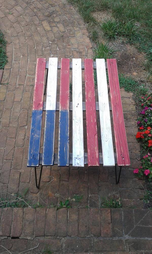 recycled pallet flag table