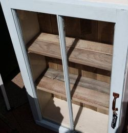 recycled old window and pallet cabinet