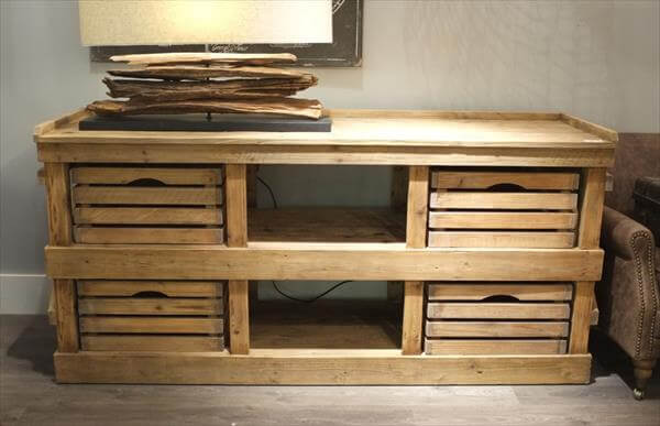 handmade pallet and crate sideboard