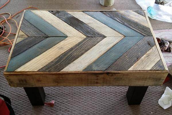 reclaimed pallet chalk painted chevron table