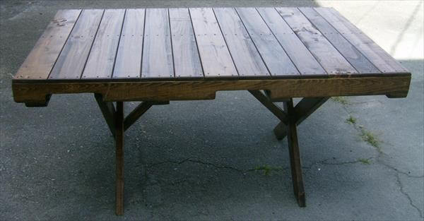 handmade wood pallet dining table with criss cross legs