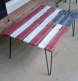 diy pallet flag table with metal legs