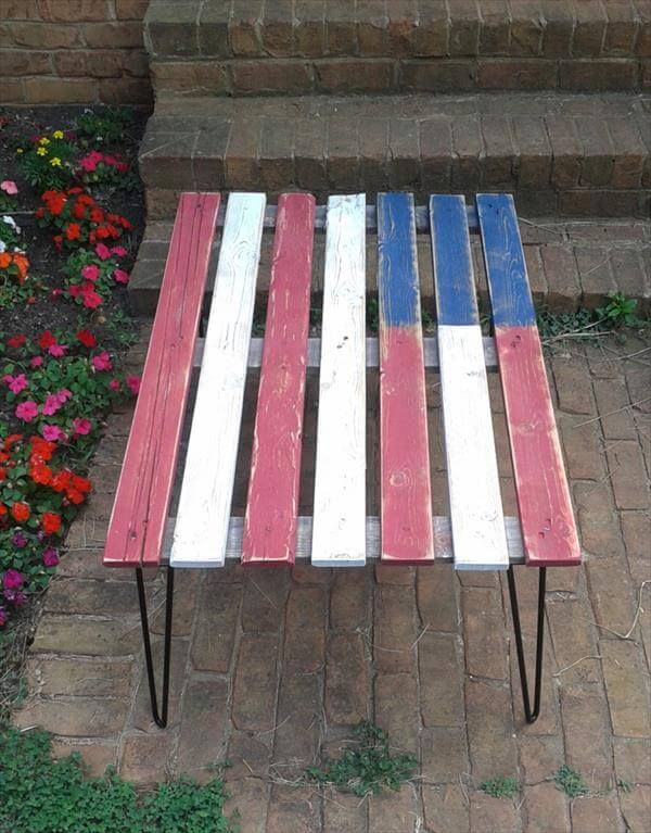handcrafted pallet flag table