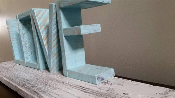 handcrafted pallet love wall art and shelf