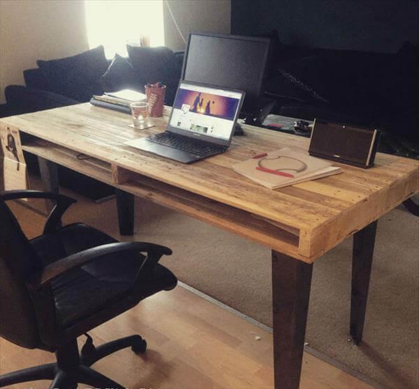 reclaimed pallet office desk