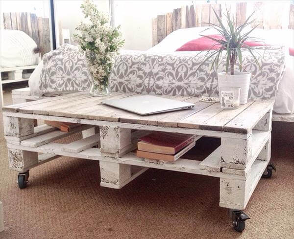 handmade pallet shabby chic coffee table with wheels