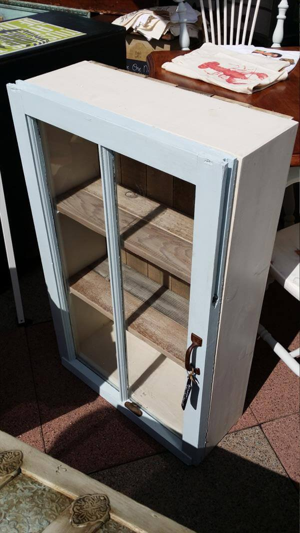 upcycled old window and pallet cabinet