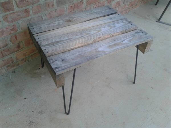 handcrafted pallet coffee table with metal hairpin legs