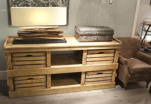 Pallet And Wooden Crate Side Board Furniture DIY