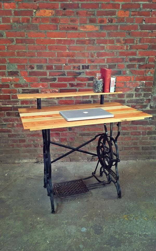 diy wooden pallet computer desk with metal sewing machine base