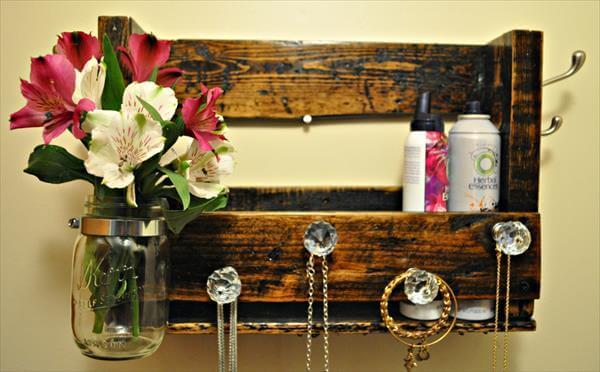 recycled pallet jewelry organizer