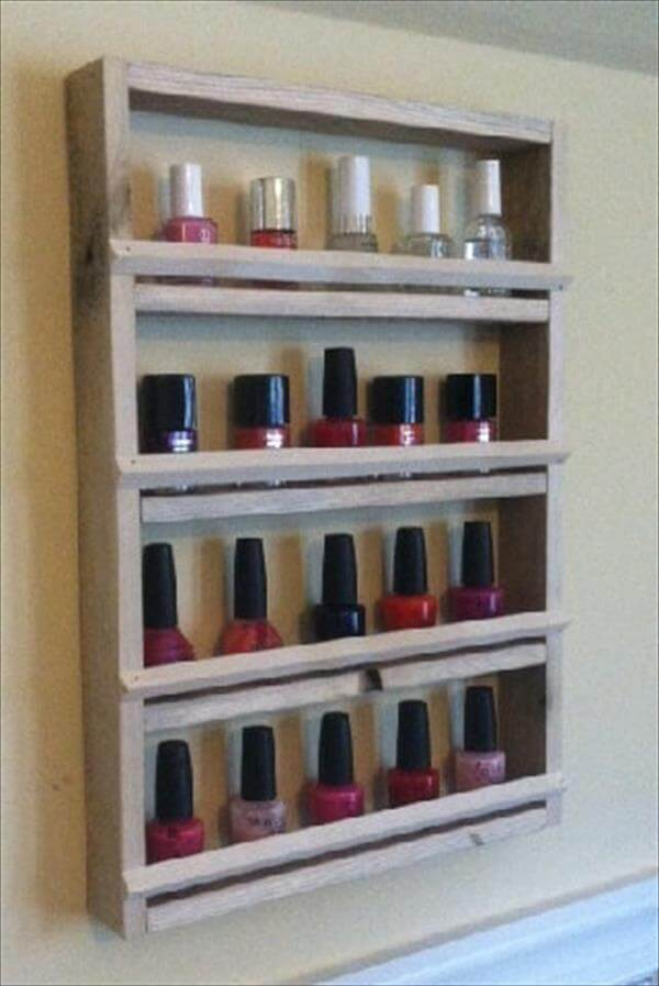 recycled pallet nail polish holder
