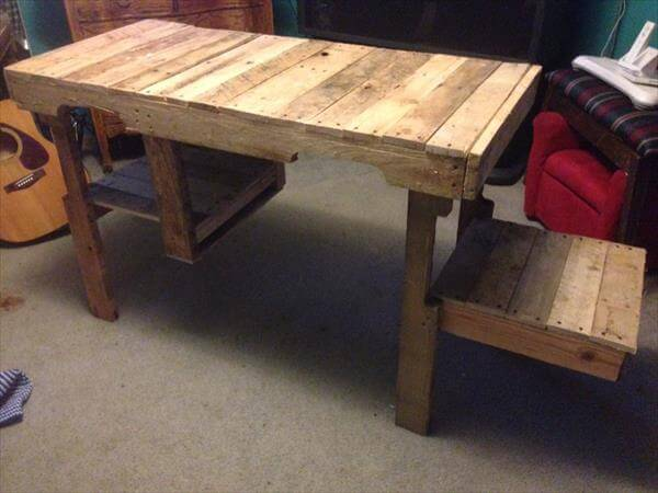 recycled pallet wood desk with side tabletop and storage cubby