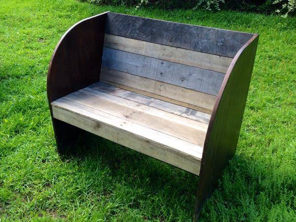 diy pallet and old garden bench