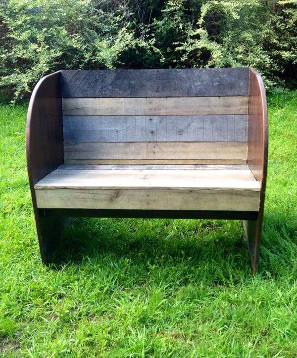 wooden pallet and old wood garden bench