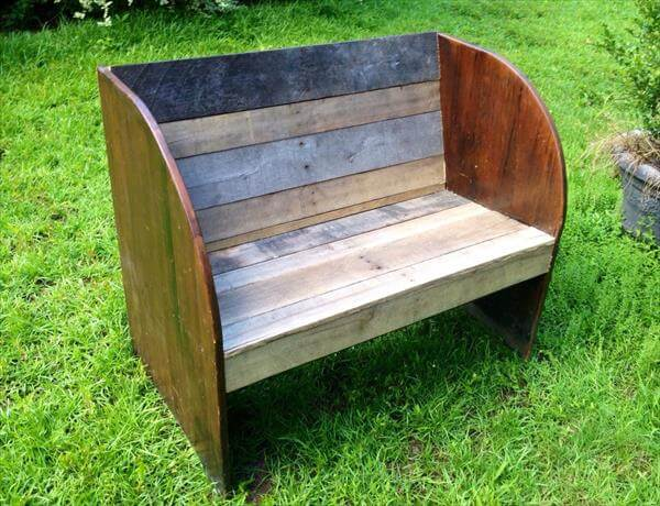 handcrafted pallet and old wood garden bench