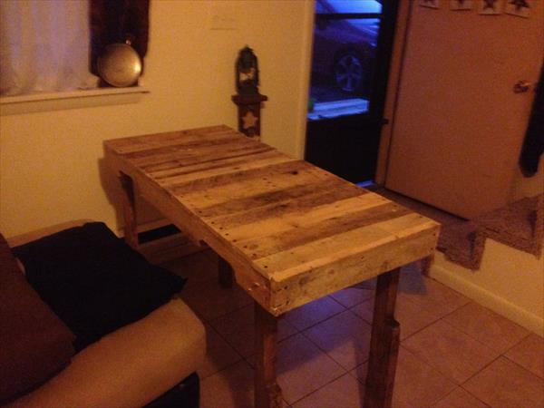handcrafted pallet desk with side tabletop